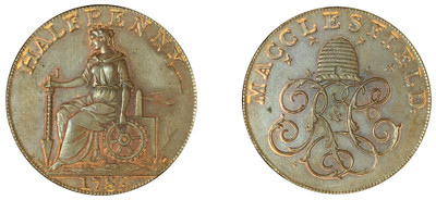 Charles Roe & Company, Copper Halfpenny, 1789 (DH Cheshire 9)
