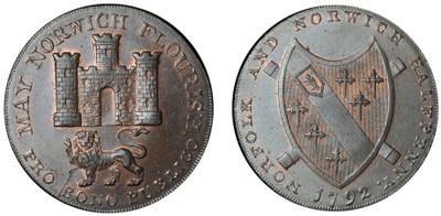 Nathaniel Bolinbroke, Copper Halfpenny, 1792 (D&H Norfolk 14)