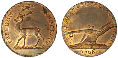 Buck Society, Copper Halfpenny, 1796 (D&H Middlesex 1041)