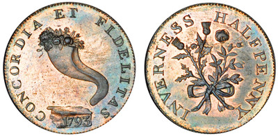 Mackintosh, Inglis & Wilson, Commercial Halfpenny, 1793 (D&H Invernesshire 1a)