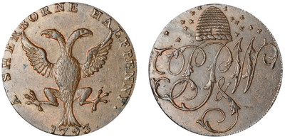 Pretor, Pew, & Whitty Commercial Halfpenny, 1793 (D&H Dorsetshire 7)