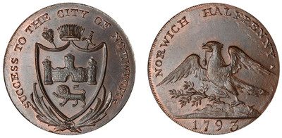 Dunham & Yallop, Commercial Halfpenny, 1793 (D&H Norfolk 31)
