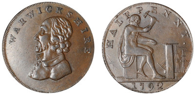 William Shakespeare Copper Halfpenny c1795 (D&H Warwickshire 49)