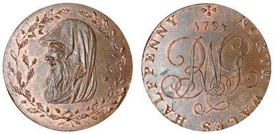 North Wales Halfpenny, 1793 (D&H North Wales 2c)