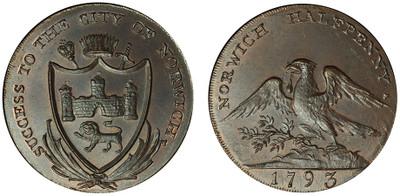 Dunham & Yallop, Copper Halfpenny, 1793 (D&H Norfolk 31)