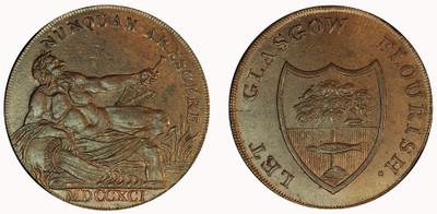 Imitation Halfpenny of Gilbert Shearer & Co., 1791 (D&H Lanarkshire 3)