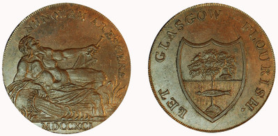 Imitation Halfpenny of Gilbert Shearer & Co., 1791 (D&H Lanarkshire 3b)