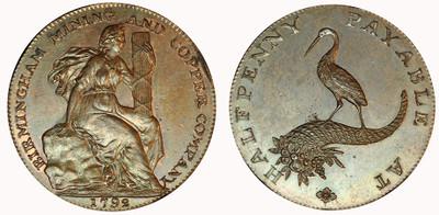 Birmingham Mining & Copper Company, Copper Halfpenny, 1792 (D&H Warwickshire 95)