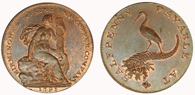 Birmingham Mining & Copper Company, Copper Halfpenny, 1791 (D&H Warwickshire 82)