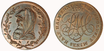 John Westwood Jr., Copper Half Halfpenny, c1796  (D&H Anglesey 456)