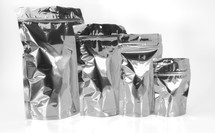 Bulk wholesale silver metallized stand up pouches