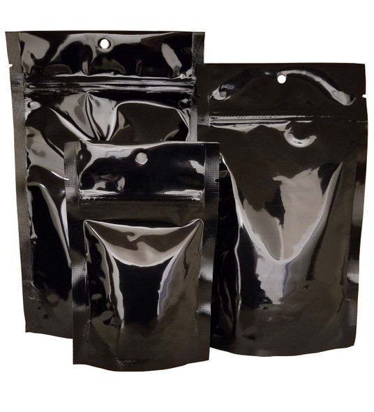 Black wholesale stand up pouches