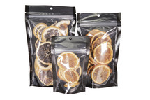 Black and clear stand up pouches in bulk