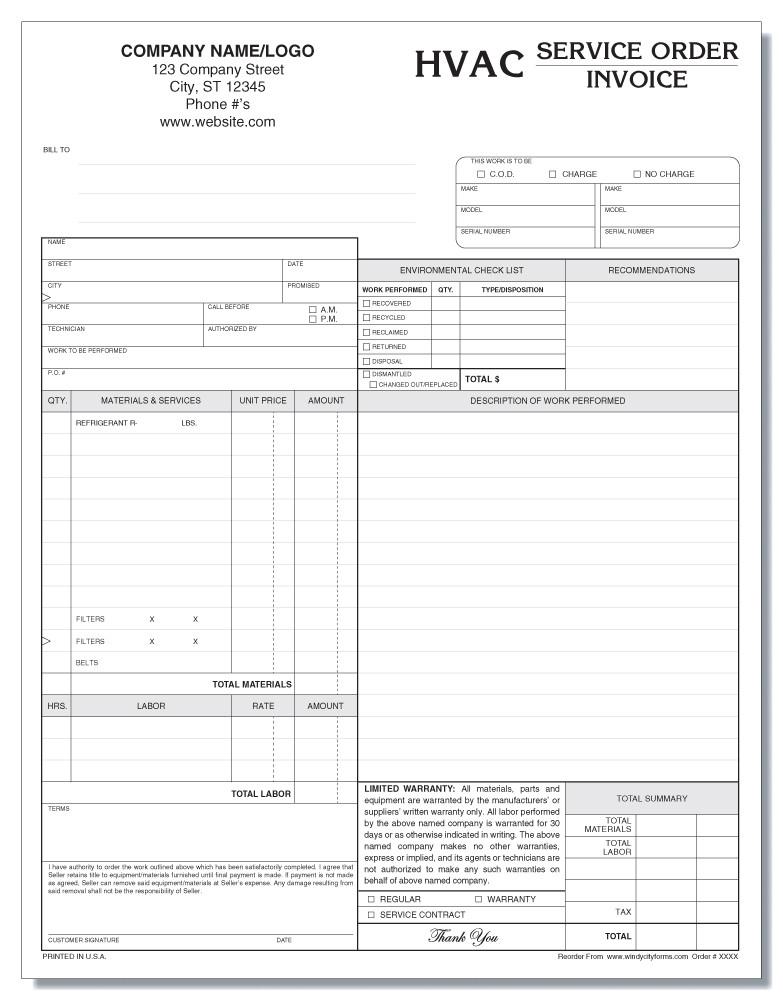 afc0808b24a Home · Forms Catalog  HVAC Service Order Invoice Version 2. Image 1