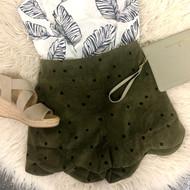 Polly Polks Dot Shorts - OLIVE