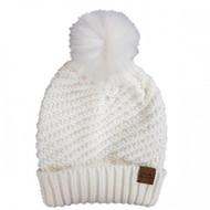 Simply Southern Knit Pom Beanie - WHITE