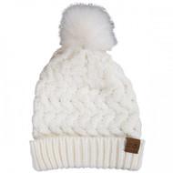 Simply Southern Chunky Knit Pom Beanie - WHITE