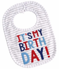 "Mud Pie Grey ""It's My Birthday"" Bib"