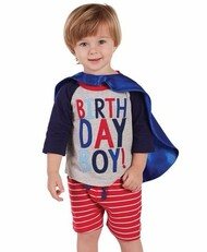 Mud Pie Birthday Boy T-Shirt & Cape Set