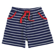 Mud Pie Striped Pull On Shorts - NAVY