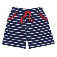 Mud Pie Striped Pull On Shorts - NAVY
