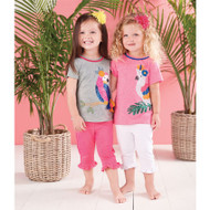 Mud Pie Tropical Bird Sequin Tee - PINK
