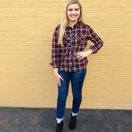 All Of Fall Flannel Top - RED
