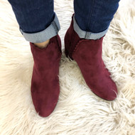 Jaylen Suede Scallop Booties - BURGUNDY
