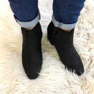 Jaylen Suede Scallop Booties - BLACK
