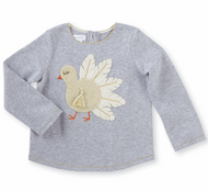 Mud Pie Thanksgiving Tunic - GREY TURKEY
