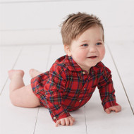 Mud Pie Red Tartan Crawler
