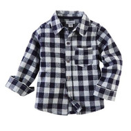 Mud Pie Flannel Button Down Shirt - BLUE