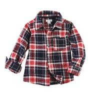 Mud Pie Flannel Button Down Shirt - RED