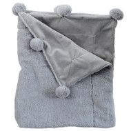 Mud Pie Grey Pom Pom Blanket