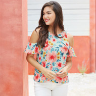 Mud Pie Kimball Flounce Top - FLORAL