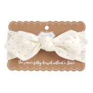 Mud Pie Gold Dot Jersey Knot Headband - IVORY