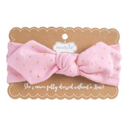 Mud Pie Gold Dot Jersey Knot Headband - PINK