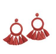 Mud Pie Raffia Tassel Hoop Earrings - RED