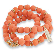 Mud Pie Marble Bracelet Set - CORAL