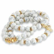 Mud Pie Marble Bracelet Set - WHITE