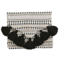 Mud Pie Woven Tassel Clutch - BLACK