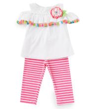 White Clip-Dot Tassel Top Striped Legging Set