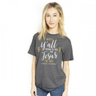 Simply Southern Y'all Test Jesus Dark Grey Tee