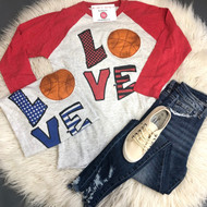 Love Basketball Raglan - RED