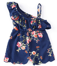 Navy Floral One Shoulder Scallop Hem Romper