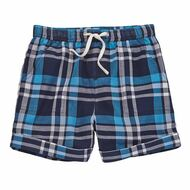 Mud Pie Plaid Cuffed Shorts - BLUE