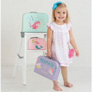Mud Pie Gold Foil Mermaid Suitcase
