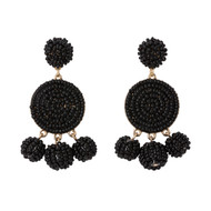 Beaded Circle Dangle Earrings - BLACK