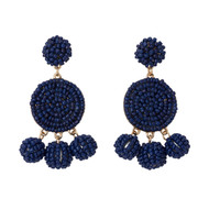 Beaded Circle Dangle Earrings - NAVY