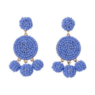 Beaded Circle Dangle Earrings - HYDRANGEA